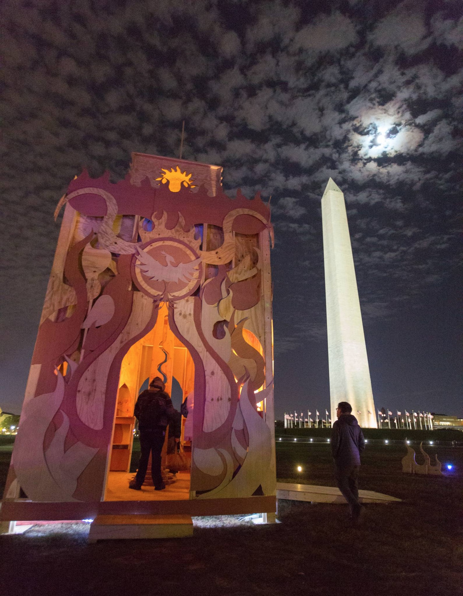 """Michael Verdon also created """"The Temple of Rebirth"""". The 30-foot-tall structure gave us a space for personal and collective healing and will burn in a future event. (PhotobyKris Northern)"""